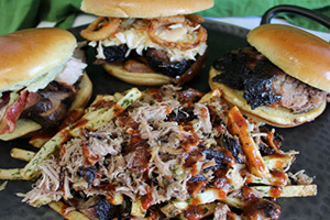 Pulled pork sandwiches and loaded fries